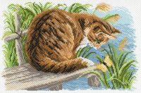 """Канва с нанесенным рисунком """"Любопытный котенок"""""""