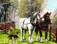 "Картина по номерам ""Пейзаж с лошадьми"" (400х500 мм)"