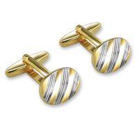 Запонки (цвет: серебристый, золотой, с гравировкой, 11-0093)