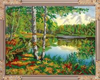 "Вышивка бисером ""Речка в лесу"" (190х240 мм)"