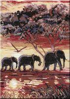 """Вышивка крестом """"Слоны. Часть 2"""" (380x280 мм)"""
