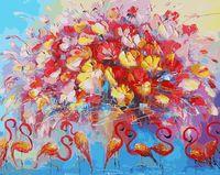 """Картина по номерам """"Танец красного фламинго"""" (400х500 мм)"""