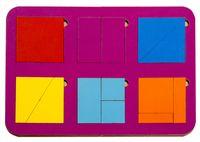 """Рамка-вкладыш """"Сложи квадрат"""" (6 квадратов; уровень 1)"""