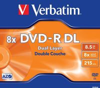 Диск DVD-R Dual Layer 8.5Gb 8x Verbatim jewel (в упаковке 5 штук)