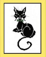 """Вышивка крестом """"Кот с бабочкой"""" (140x220 мм)"""