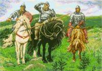 """Канва с нанесенным рисунком """"Три богатыря"""""""