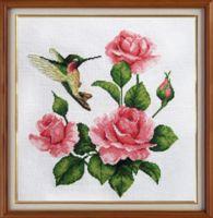 """Вышивка крестом """"Розы и колибри"""" (280х280 мм)"""