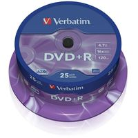 Диск DVD+R 4.7Gb 16x Verbatim CakeBox 25