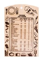 """Доска разделочная деревянная """"Таблица мер и весов"""" (300х185 мм)"""