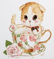 "Картина по номерам ""Вислоухий котёнок в чашке"" (300х300 мм)"