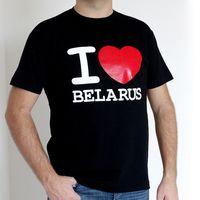 """Футболка мужская """"I love Belarus"""" (L; черная)"""