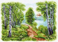 """Канва с нанесенным рисунком """"Храм у озера"""""""