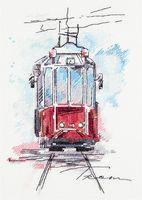 """Вышивка крестом """"Городской трамвай"""""""