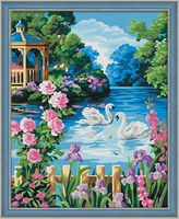 "Картина по номерам ""Беседка у озера"" (400х500 мм)"