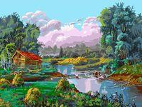 "Картина по номерам ""Стога у реки"" (300х400 мм)"