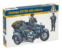 "Сборная модель ""Армейский мотоцикл Zündapp KS750 с фигурками солдат"" (масштаб: /35)"