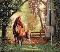 """Вышивка крестом """"Лошадь с жеребенком"""" (арт. DMS-35260)"""