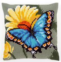 """Вышивка крестом """"Подушка. Бабочка и желтый цветок"""" (400х400 мм)"""