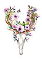 """Открытка """"Рога и цветы"""""""