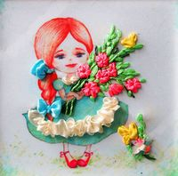 "Вышивка лентами ""Девочка"" (135х135 мм; арт. ВЛДС0002)"