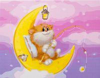 """Картина по номерам """"Котик на Луне"""" (300х400 мм)"""