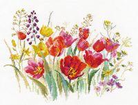 """Вышивка крестом """"Полевые тюльпаны"""" (300х210 мм)"""