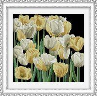 "Алмазная вышивка-мозаика ""Жёлтые и белые тюльпаны"" (430х410 мм)"