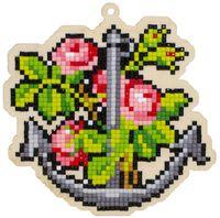 """Алмазная вышивка-мозаика """"Брелок. Якорь и цветы"""" (118х118 мм)"""