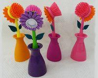 """Щетка для мытья посуды пластмассовая в подставке """"Цветок"""" (25 см; арт. JC1003AC/AP)"""