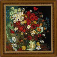 "Вышивка крестом ""Ван Гог. Ваза с маками, васильками и хризантемами"" (300х300 мм)"
