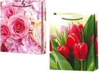"""Пакет пластиковый подарочный """"Цветы"""" (в ассортименте; 34х27х9 см)"""