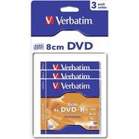 Диск DVD-R Double Layer 8см 2.66Gb 4x Verbatim 54min (в упаковке 3 штуки)