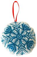 """Вышивка бисером """"Новогодняя игрушка. Снежинка"""" (85х85 мм)"""
