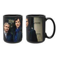 """Кружка большая черная """"Шерлок и Ватсон"""" (арт. 353)"""