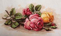 """Вышивка крестом """"Срезанные розы"""" (360x230 мм)"""