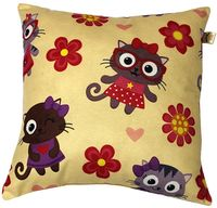 """Подушка """"Коты и цветы"""" (35x35 см; жёлтая)"""