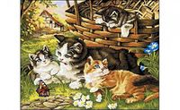 """Картина по номерам """"Котята с корзинкой"""" (400x500 мм)"""