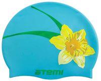 Шапочка для плавания (голубая; цветок; арт. PSC415)