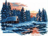 """Вышивка крестом """"Зимний пейзаж"""" (270x360 мм)"""