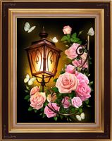 "Алмазная вышивка-мозаика ""Фонарь в розах"" (400х300 мм)"