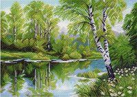 """Канва с нанесенным рисунком """"Березы у озера"""""""