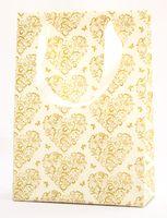 "Пакет бумажный подарочный ""Hearts and Butterflies"" (23,5х17х7 см; золотые элементы)"