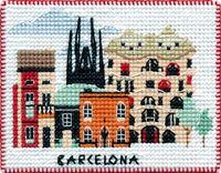 "Вышивка крестом ""Барселона"" (90х70 мм; на магните)"