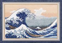 """Вышивка крестом """"Большая волна в Канагаве"""" (300х200 мм)"""