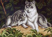 """Канва с нанесенным рисунком """"Волчья пара"""""""