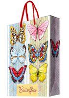 """Пакет бумажный подарочный """"Тропические бабочки"""" (26х32,4х12,7 см; арт. 44194)"""