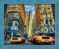 """Алмазная вышивка-мозаика """"Такси Нью-Йорка"""" (500х400 мм)"""