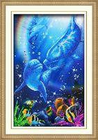 """Вышивка бисером """"Дельфины"""" (250х385 мм)"""