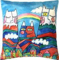 """Подушка """"Горные коты"""" (35x35 см; голубая)"""