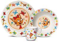 "Набор посуды ""Три кота. Бабочки"" (кружка, салатник, тарелка)"